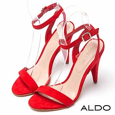 ALDO 原色真皮性感一字金屬釦帶繫踝高跟涼鞋~性感紅色