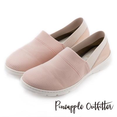 Pineapple Outfitter 輕盈首選  彈性布料拼接牛皮平底休閒鞋-粉色