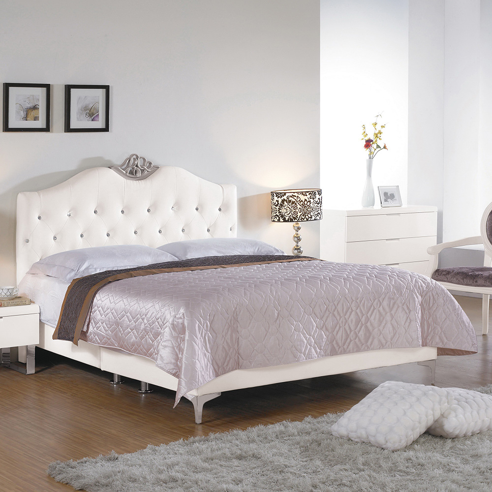 Boden-曼妮6尺白色皮革雙人加大床組(不含床墊)
