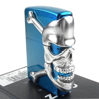 ZIPPO 日系~BIG SKULL-銀色金屬骷髏3面連續加工打火機(藍色款)