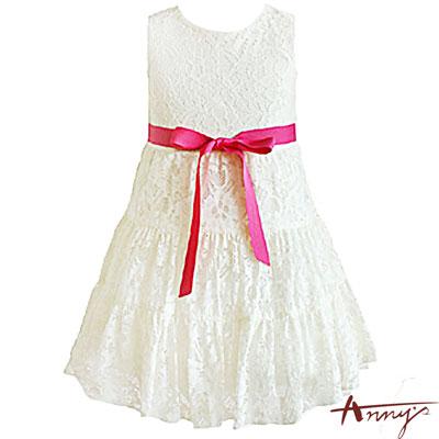 夢幻蕾絲裙襬綁帶蝴蝶結洋裝*5101米白