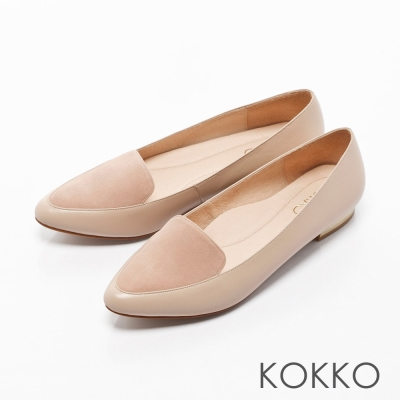 KOKKO-英倫紳士尖頭異材拼接金屬平底鞋-杏膚裸