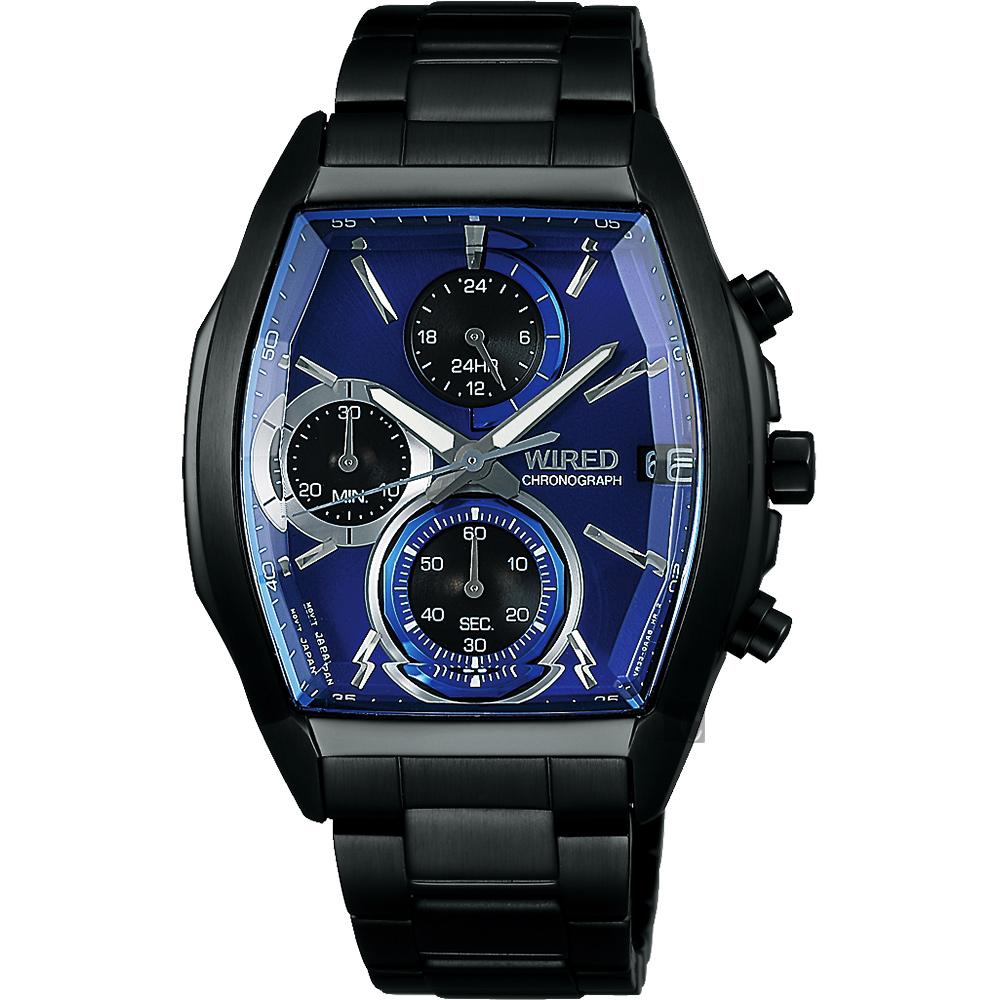 WIRED 東京潮流炫彩計時腕錶(AY8013X1)-藍x鍍黑/38mm