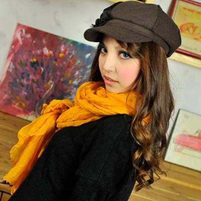 Aimee-Toff-版秋冬款純色皺褶加大圍巾-薑黃