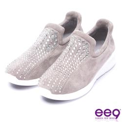 ee9 矚目焦點鑲嵌水鑽超輕厚底休閒鞋-灰色