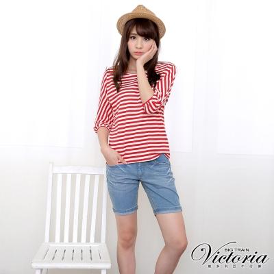 Victoria 中腰淺藍配線反摺短褲-女-淺藍