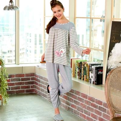 睡衣 精梳棉柔針織 長袖兩件式睡衣(67206)麻灰色 蕾妮塔塔