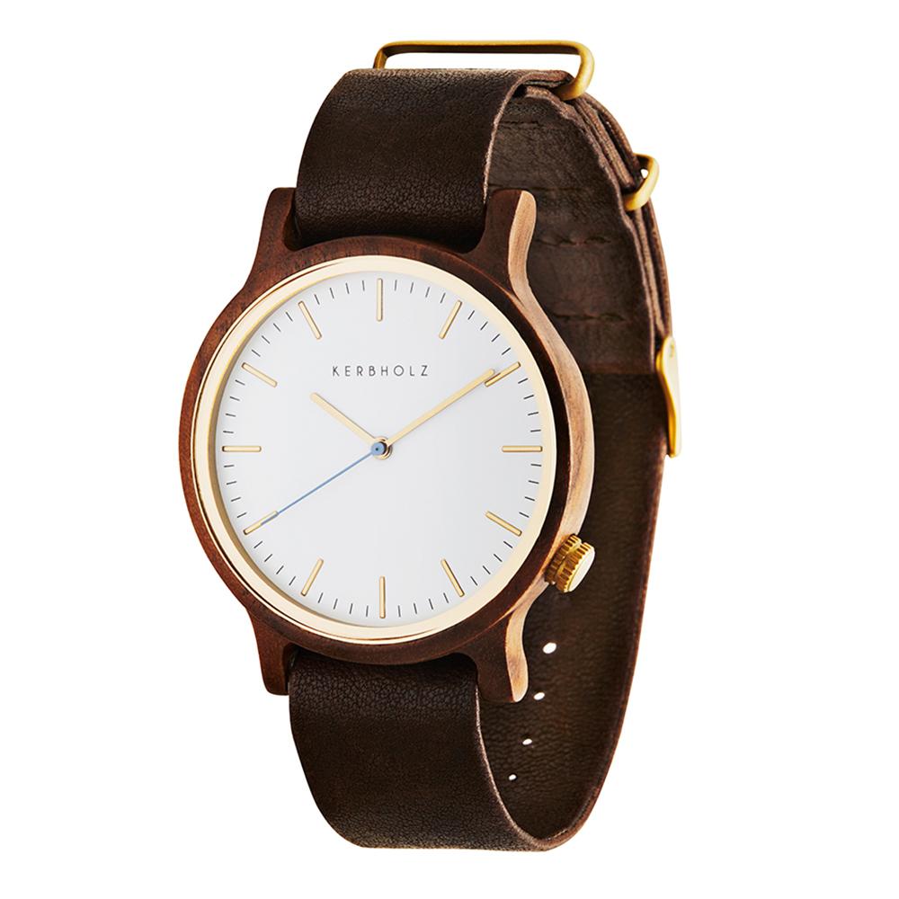 KERBHOLZ 原木手錶 Walter-核桃木/40mm (棕褐/真皮錶帶)