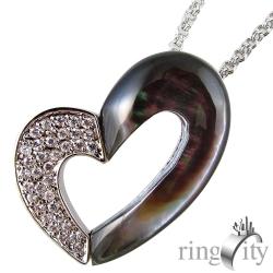 RingCity 愛心珍珠黑母貝造型墜鍊