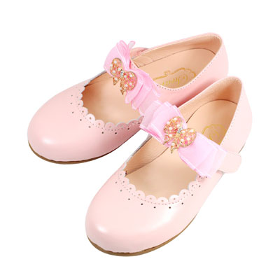 Swan天鵝童鞋-真皮小圓花邊蝴蝶結公主鞋 3833-粉