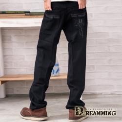 Dreamming 純色G&W造型口袋伸縮中直筒牛仔褲-黑色