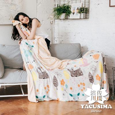 濱川佐櫻-歡樂時光 文青風法蘭絨雙人兩用毯被(6x7尺)