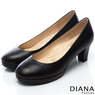 DIANA 漫步雲端焦糖美人E款--素面真皮制鞋-黑
