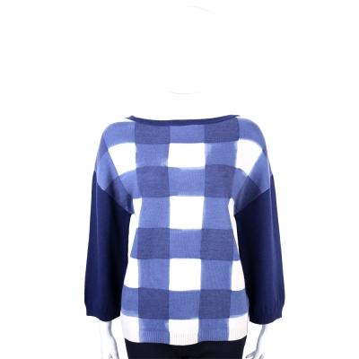 MOSCHINO 藍白格紋純羊毛長袖上衣