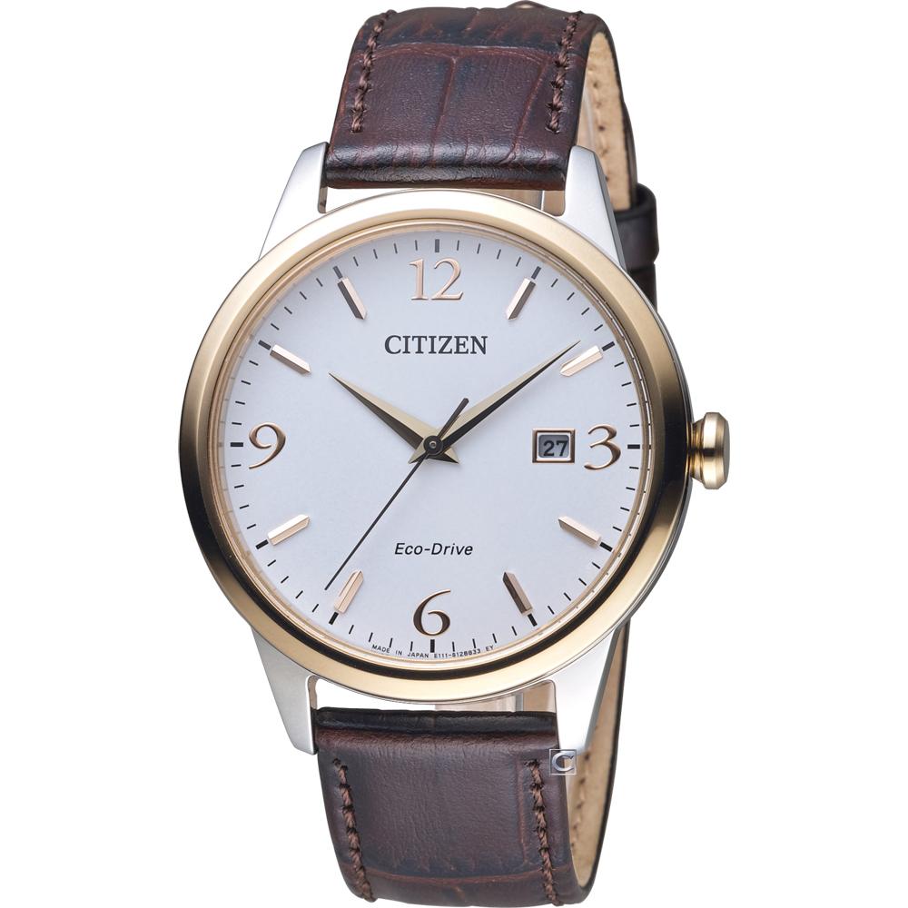 CITIZEN 星辰 光動能紳士時尚腕錶(BM7304-16A)-白/40mm