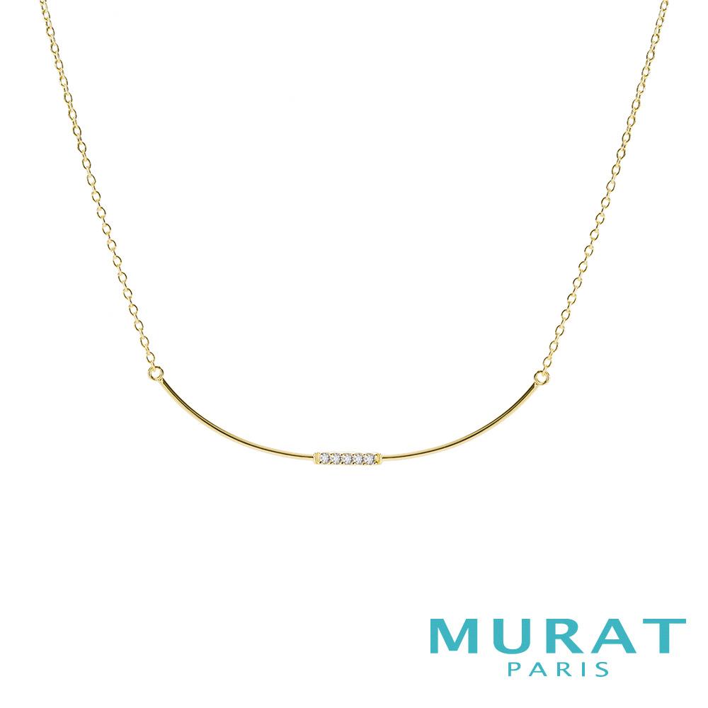 MURAT Paris米哈巴黎 微笑曲線水鑽項鍊(金色款)