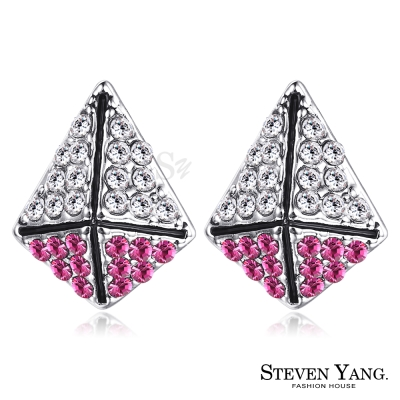 STEVEN YANG 白K耳針式耳環 甜蜜防禦 (桃紅水晶)