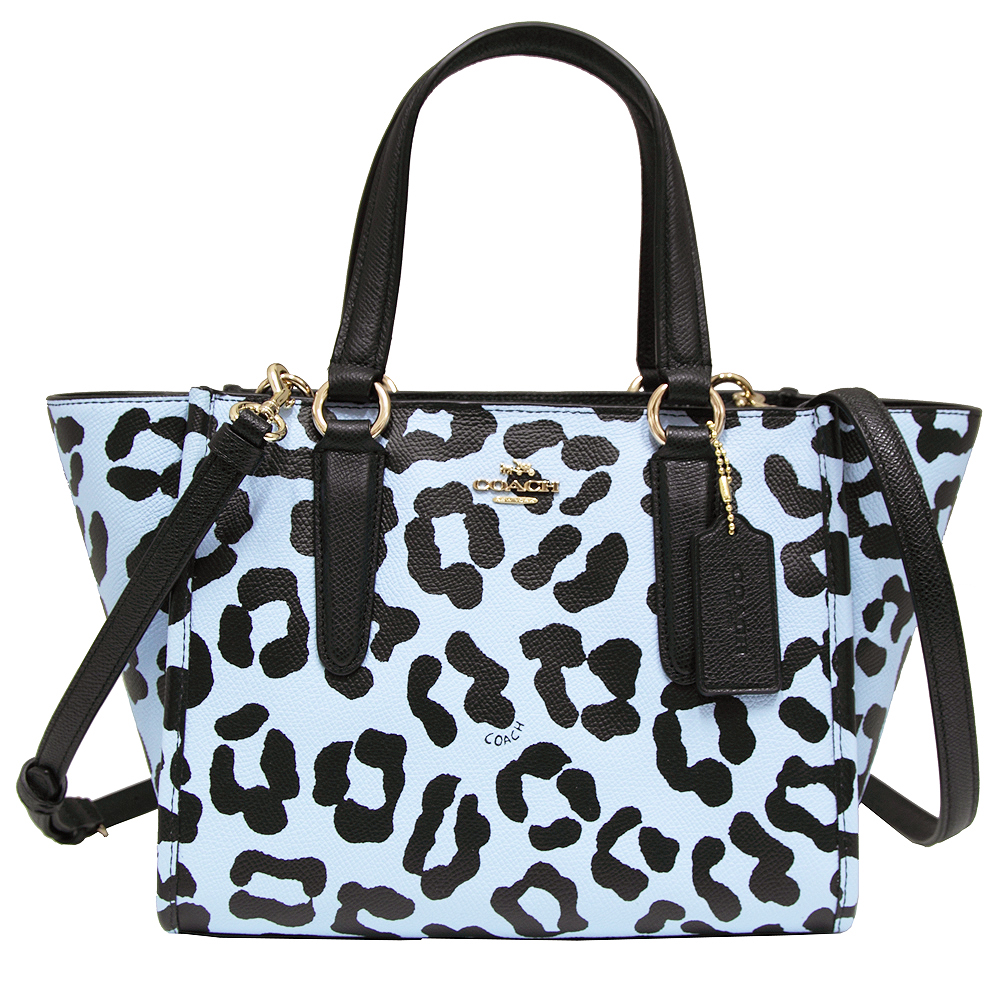 COACH馬車豹紋全皮革手提/斜背兩用包-淡藍(小)COACH