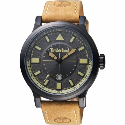 Timberland天柏嵐 探險家時尚手錶-黑x卡其色/46mm