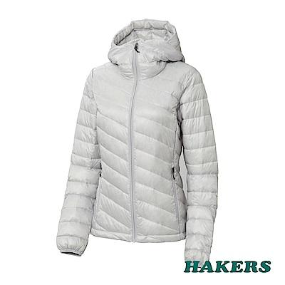 【HAKERS】女-智能保暖羽絨外套(銀白)