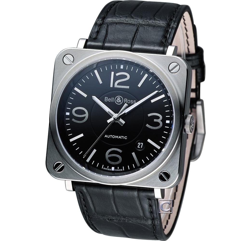 Bell & Ross 經典時尚飛行械機腕錶-黑/39mm