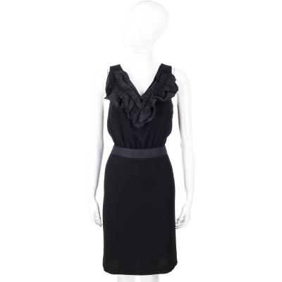 LOVE MOSCHINO 黑色皺褶領設計無袖洋裝