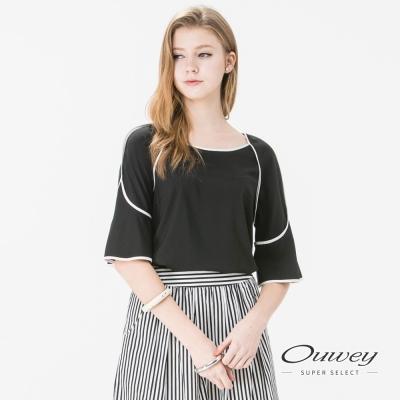 OUWEY歐薇 簡約棒球裝剪裁雪紡衣(黑/白)