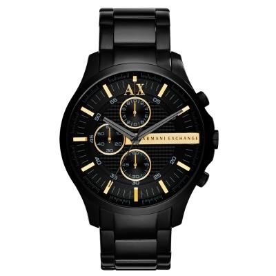 A│X Armani Exchange 翱翔天際三眼計時腕錶-黑x金/46mm