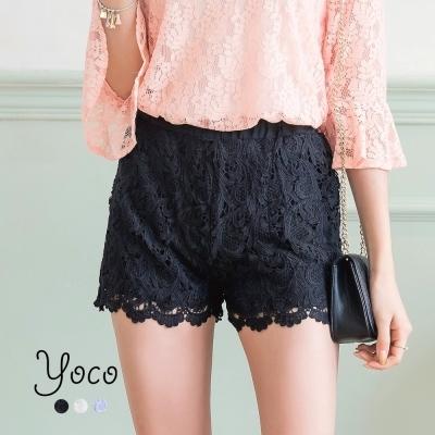東京著衣-yoco 春氛輕柔刺繡蕾絲短褲-S.M.L(共三色)