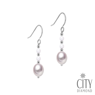 City Diamond引雅 【手作設計系列 】天然珍珠水滴耳環