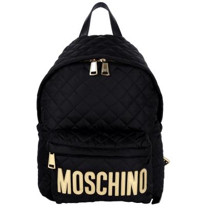 MOSCHINO 菱格車縫尼龍後背包(黑色)