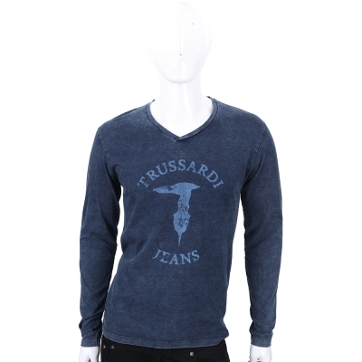TRUSSARDI-JEANS 深藍色V領仿牛仔刷色長袖上衣