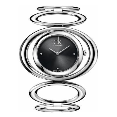 cK Graceful 魔幻真鑽手環腕錶-珍珠黑/46mm