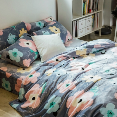 LAMINA 簡約小花 法蘭絨鋪棉床包被套四件組(加大)