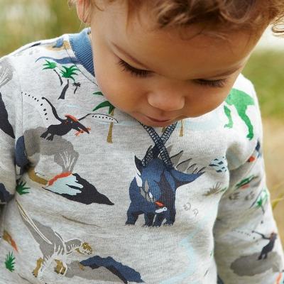 歐美風 男童純棉長袖T恤-滿版恐龍