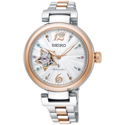 SEIKO精工 LUKIA 聖誕限定機械女錶(SSA814J1)-珍珠貝x雙色/34mm