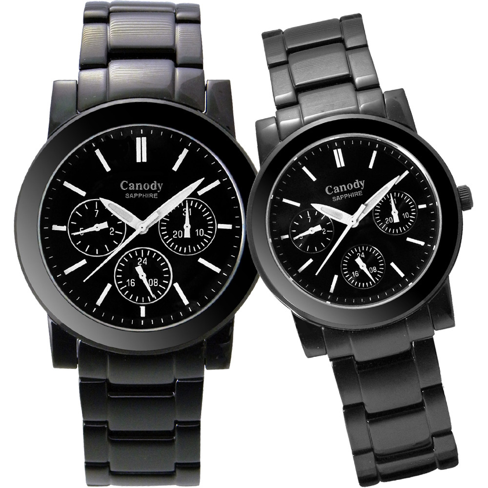 Canody 甜蜜約定三眼日曆時尚對錶-IP黑x白色時標