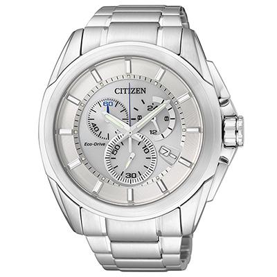 CITIZEN 絕對時刻三眼計時光動能男錶(AT0821-59A)-白/44mm