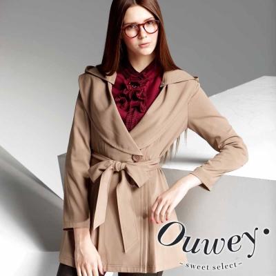 OUWEY-韓系柔軟雪紡綁帶外套-可