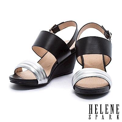 涼鞋 HELENE SPARK 摩登時尚撞色異材質設計一字帶楔型高跟涼鞋-黑