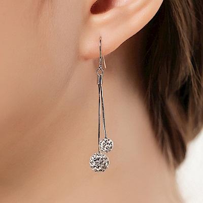 梨花HaNA熱賣系列925銀雙球水鑽球球長耳線耳環