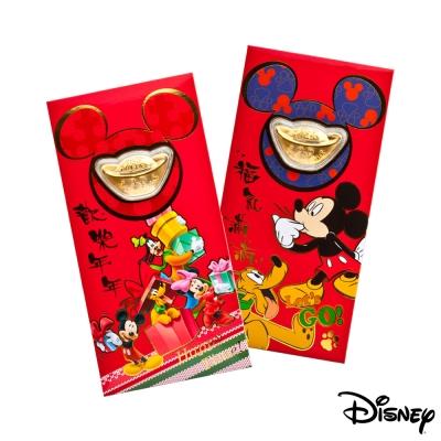 Disney迪士尼系列金飾-黃金元寶紅包袋-闔家歡樂+福氣旺來款
