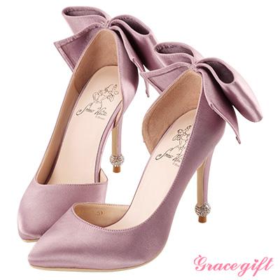 Disney collection by grace gift立體蝴蝶結圓鑽跟鞋 深紫