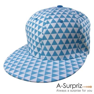 A-Surpriz 潮流三角格紋圖騰棒球帽(藍)[情人節送禮推薦]