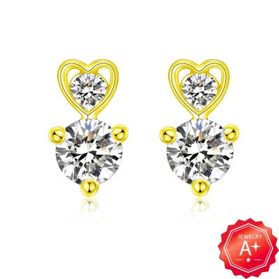 A+ 愛心垂鑽黃金耳環