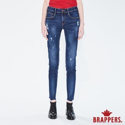 BRAPPERS 女款 新美腳ROYAL系列-彈性褲口不規則波浪窄管褲-藍-動態show