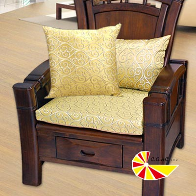 【凱蕾絲帝】飛黃藤達~實木椅專用加厚緹花記憶聚合坐墊(54*56CM)4入