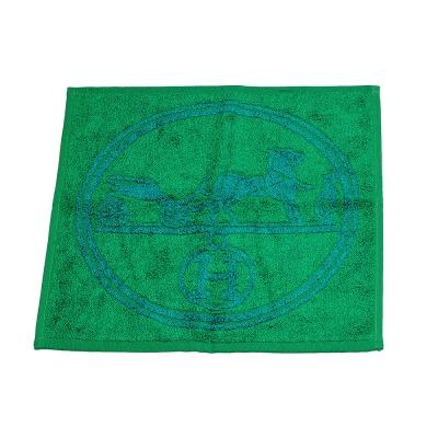 HERMES 愛馬仕馬車圖騰棉質口袋方巾/手帕(綠X藍)