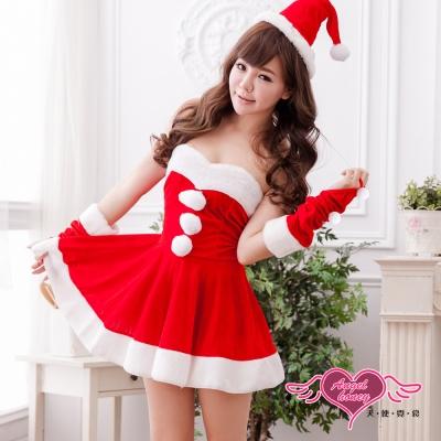 耶誕服 派對公主 聖誕舞會角色扮演露肩連身裙(紅F)  AngelHoney天使霓裳
