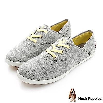 Hush Puppies 斜紋毛呢咖啡紗帆布鞋-灰色